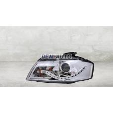 Фара левая+правая (комплект) тюнинг линзованная (DEVIL EYES) с регулирующим мотором (EAGLE EYES) внутри хром на                                                       Ауди А3 8П