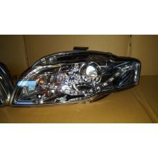 Audi a4  Фара левая+правая (комплект) тюнинг(DEVIL EYES)линзованная без корректора (EAGLE EYES) внутри хромированная - Dem-Yug