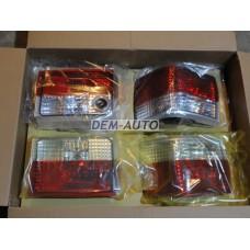 Фонарь задний внешний+внутренний левый+правый (комплект) тюнинг прозрачный хрустальный красный-белый на                            Ауди 80/90 - Б3