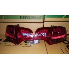 Audi a4  Фонарь задний внешний+внутренний левый+правый (комплект) (СЕДАН) тюнинг с диодами хрустальный красный тонированный - Dem-Yug