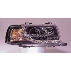 Audi 80+(devil eyes) . (sonar) Фара левая+правая (комплект) тюнинг линзованная (DEVIL EYES) , литой указатель поворота(SONAR)внутри черная - Dem-Yug