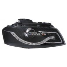 Фара левая+правая (комплект) тюнинг линзованная (DEVIL EYES) с регулирующим мотором (EAGLE EYES) внутри черная на                                                       Ауди А3 8П