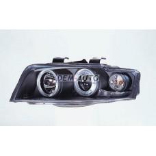 Audi a4+ 2 (sonar) Фара левая+правая (КОМПЛЕКТ) тюнинг линзованнаяс 2 светящимися ободками (SONAR) внутри черная - Dem-Yug