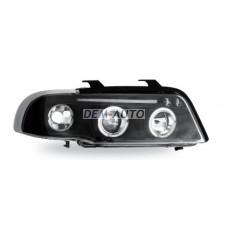 Audi a4  Фара левая+правая (КОМПЛЕКТ) тюнинг линзованная , с светящимися ободками , литой указатель поворота (JUNYAN)внутри черная - Dem-Yug