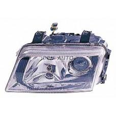 Audi a4 {s4}  Фара левая тюнинг линзованная прозрачная внутри хромированная - Dem-Yug
