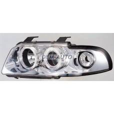 Audi a4  Фара левая+правая (КОМПЛЕКТ) тюнинг линзованнаяс 2 светящимися ободками , литой указатель поворота (SONAR) внутри хромированная - Dem-Yug