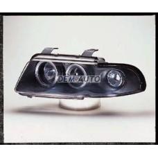 Audi a4  Фара левая+правая (КОМПЛЕКТ) тюнинг линзованнаяс 2 светящимися ободками , литой указатель поворота (SONAR) внутри черная - Dem-Yug