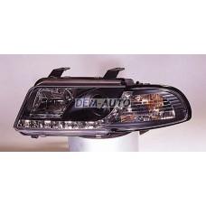 Audi a4  Фара левая+правая (КОМПЛЕКТ) тюнинг линзованная (DEVIL EYES) , литой указатель поворота (SONAR) внутри черная - Dem-Yug