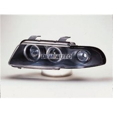 Audi a4+ 2 (sonar) Фара левая+правая (КОМПЛЕКТ) тюнинг линзованная с 2 светящимися ободками (SONAR) внутри черная - Dem-Yug