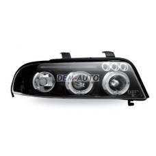 Audi a4+ (junyan) Фара левая+правая (КОМПЛЕКТ) тюнинг линзованная с светящимся ободком (JUNYAN) внутри черная - Dem-Yug