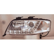 Audi a6  Фара левая+правая (комплект) тюнинг линзованная (DEVIL EYES) (SONAR) внутри хром - Dem-Yug