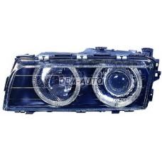 Фара+указатель поворота левая+правая (КОМПЛЕКТ) (КСЕНОН) с -D1S- с блоком управления ксеноном PHILIPS с регулирующим мотором тюнинг линзованная с 2 светящимися ободками черная на                                                       БМВE38