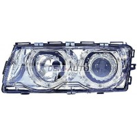 Фара левая+правая (КОМПЛЕКТ) с регулирующим мотором тюнинг линзованная с 2 светящимися ободками внутри хромированная