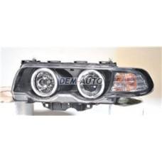 Фара левая+правая (КОМПЛЕКТ) тюнинг (КСЕНОН)линзованная с 2 светящимися ободками , литой указатель поворота с регулирующим мотором (SONAR) внутри черная на                                                       БМВE38
