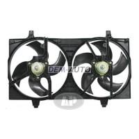 Мотор+вентилятор радиатора охлаждения двухвентиляторный с корпусом под кондиционер