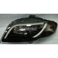 Audi a4  Фара левая+правая (комплект) тюнинг линзованная (DEVIL EYES) с светящимися секциями,регулировочным мотором (SONAR) внутри черная - Dem-Yug