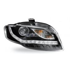 Audi a4  Фара левая+правая (комплект) тюнинг(DEVIL EYES)линзованная (JUNYAN)внутри черная - Dem-Yug