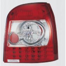 Audi a4  Фонарь задний внешний левый+правый (комплект) (универсал) тюнинг с диодами (SONAR)внутри красно-хромированный{с сопротивлением} - Dem-Yug