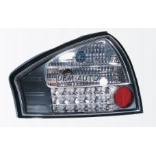 Audi a6  Фонарь задний внешний левый +правый (КОМПЛЕКТ) тюнинг (СЕДАН) прозрачный с диодным стоп сигналом (SONAR) внутри черно-хромированный {с сопротивлением} - Dem-Yug